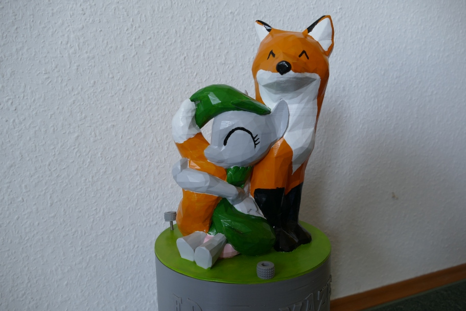 3D printed pony and fox hugging